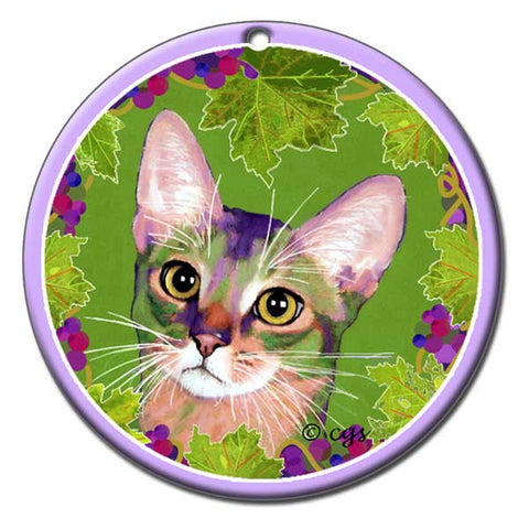 Kauhi Prince of Grapes Ceramic Cat Art Ornament by Claudia Sanchez, Claudia's Cats Collection