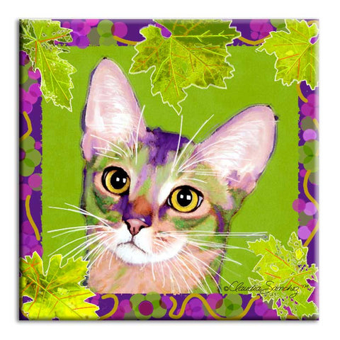 Kauhi Prince of Grapes, Spring Version - Ceramic Cat Art Tile by Claudia Sanchez