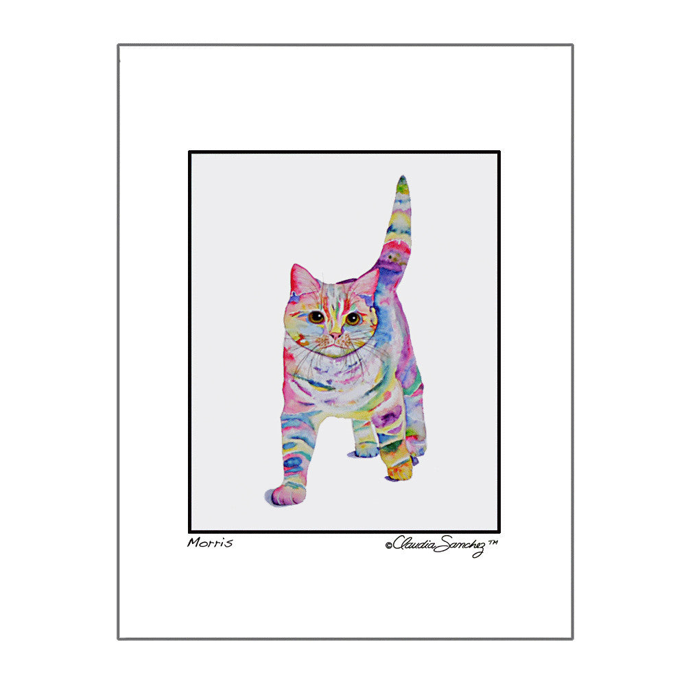 Morris, Archival Matted Cat Art Print by Claudia Sanchez
