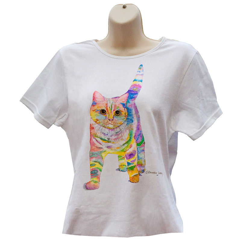 Morris Cat Art T Shirt by Claudia Sanchez, Claudia's Cats Collection
