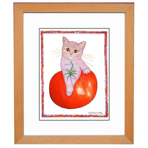 Pierre Tomato Cat - Framed Original Cat Art by Claudia Sanchez