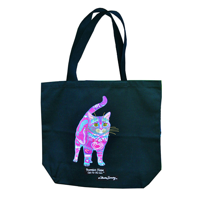Purrsie's Hope Tote Bag by Claudia Sanchez, Cats for the Cure