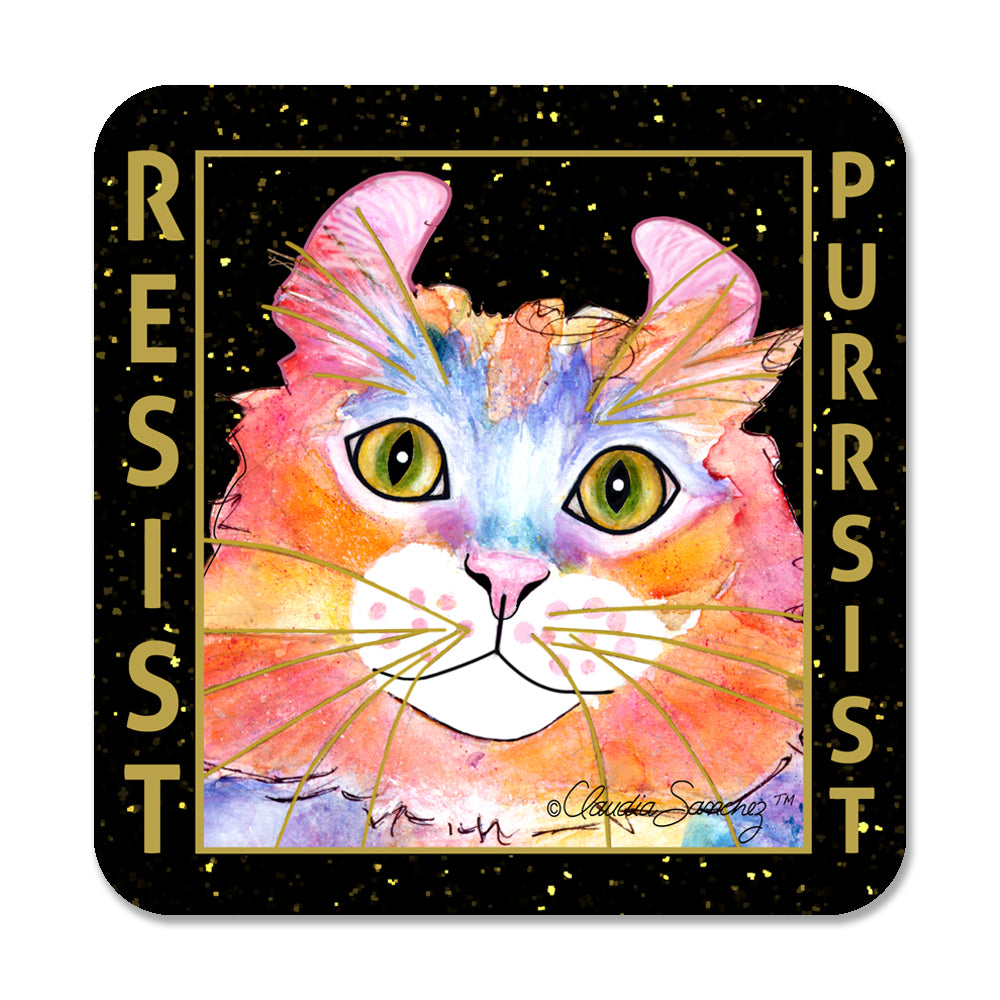 Simba RESIST•PURRSIST - Cat Art Coaster by Claudia Sanchez