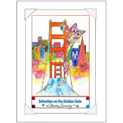 Sebastian on the Golden Gate Bridge Cat Art Poster by Claudia Sanchez
