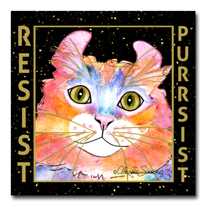 Simba RESIST•PURRSIST - Cat Art Tile by Claudia Sanchez
