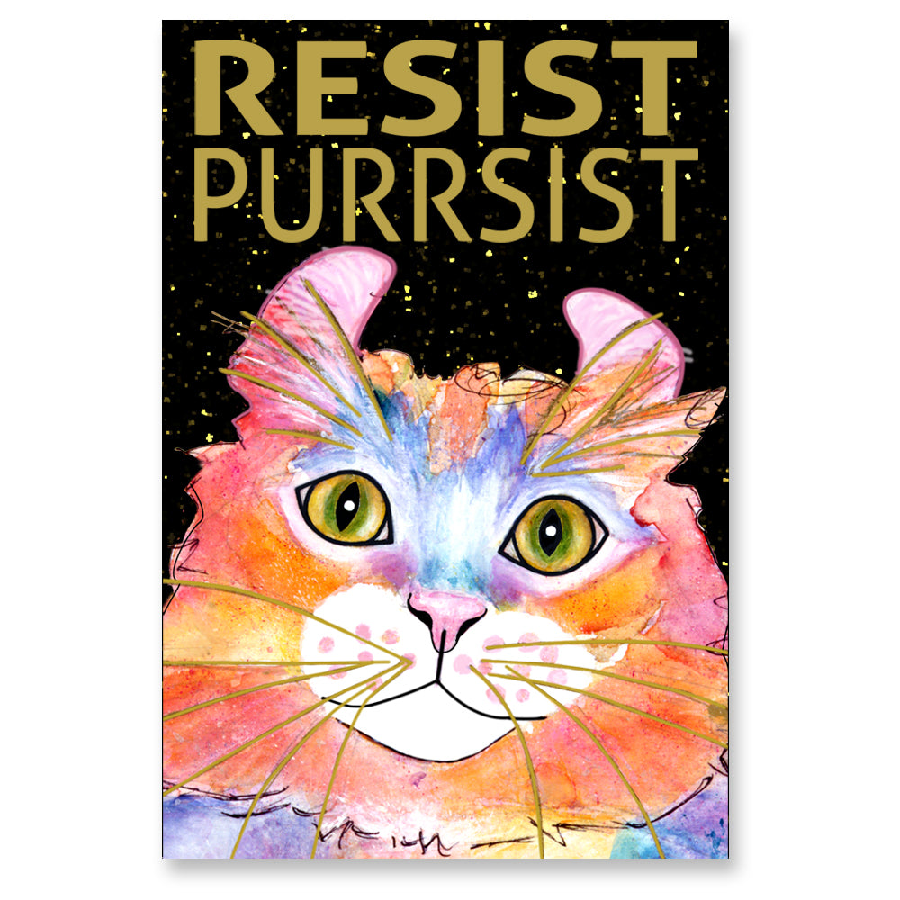 Simba RESIST•PURRSIST - Cat Art Magnet by Claudia Sanchez