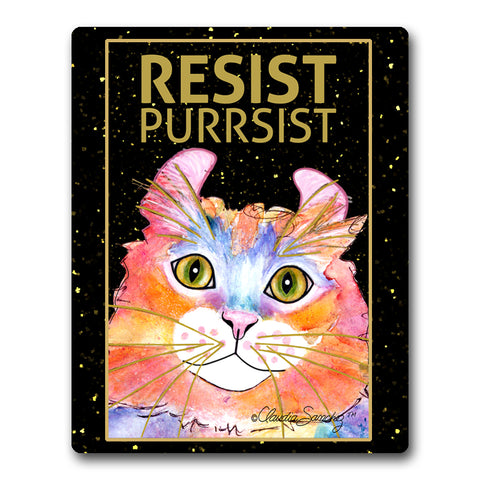 Simba RESIST•PURRSIST - Cat Art Mousepad by Claudia Sanchez