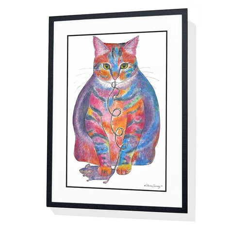 Tabby Fat Cat Giclee on Watercolor Paper - Framed art by Claudia Sanchez