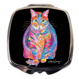 Tabby Fat Cat Compact Mirror by Claudia Sanchez