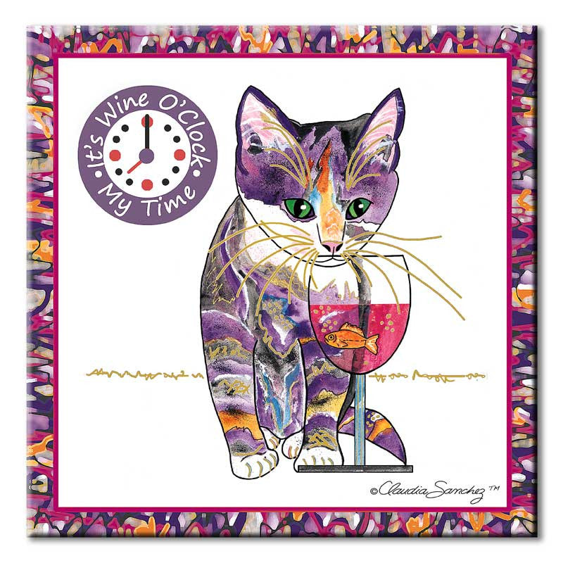Catnip Sip Wine O'Clock Cat Art Tile by Claudia Sanchez, Claudia's Cats Collection