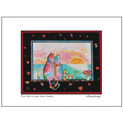 Two Cats in Love, Wine Country, Archival Matted Cat Art Print by Claudia Sanchez