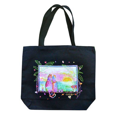 Two Cats in Love Tote Bag - Tropical Version by Claudia Sanchez