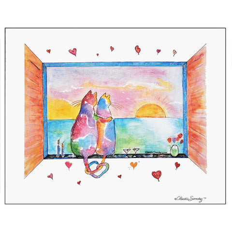 Two Cats in Love, Martini Version - Giclee on Watercolor Paper by Claudia Sanchez