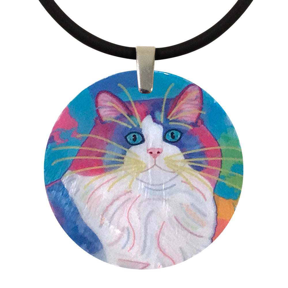 Zapata's World, Portrait on Blue, Mother of Pearl Cat Art Pendant Necklace by Claudia Sanchez