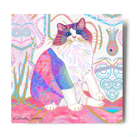 "Zapata's Dream World Aluminum Cat Art Print, by Claudia Sanchez 8x8"" or 10x10"""