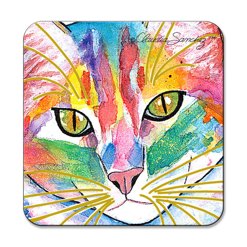 Abby Face Cat Art Coaster