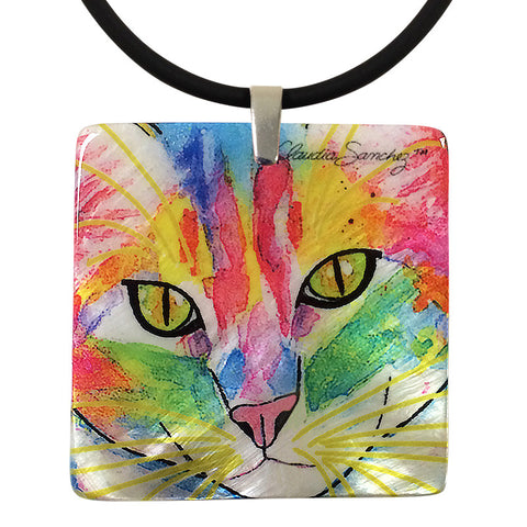 Abby Face Mother of Pearl Cat Art Pendant Necklace by Claudia Sanchez, Claudia's Cats Collection