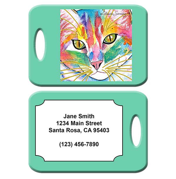 Abby Face Cat Art Luggage Tag by Claudia Sanchez
