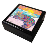 Abby Mercat Cat Art Tile Keepsake Box by Claudia Sanchez