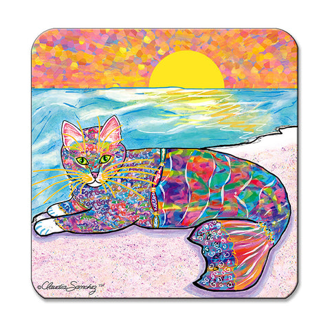 Abby Mercat - Cat Art Coaster by Claudia Sanchez