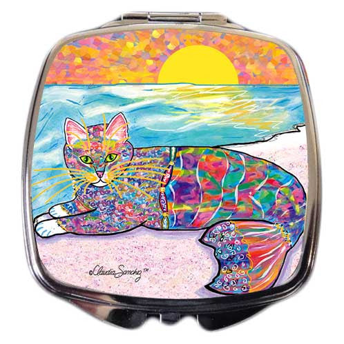 Abby Mercat Cat Art Compact Mirror by Claudia Sanchez