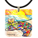 Abby Mercat Mother of Pearl Cat Art Pendant Necklace by Claudia Sanchez, Claudia's Cats Collection