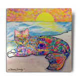 Abby Mercat Aluminum Cat Art Print - Silver Background