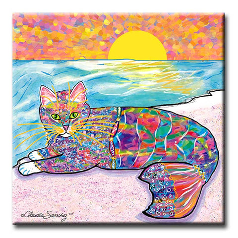 Abby Mercat Decorative Ceramic Cat Art Tile by Claudia Sanchez