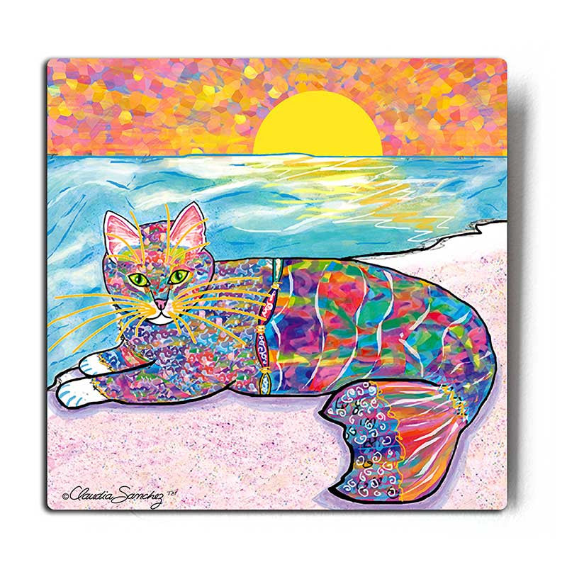 Abby Mercat Aluminum Cat Art Print by Claudia Sanchez - White Background