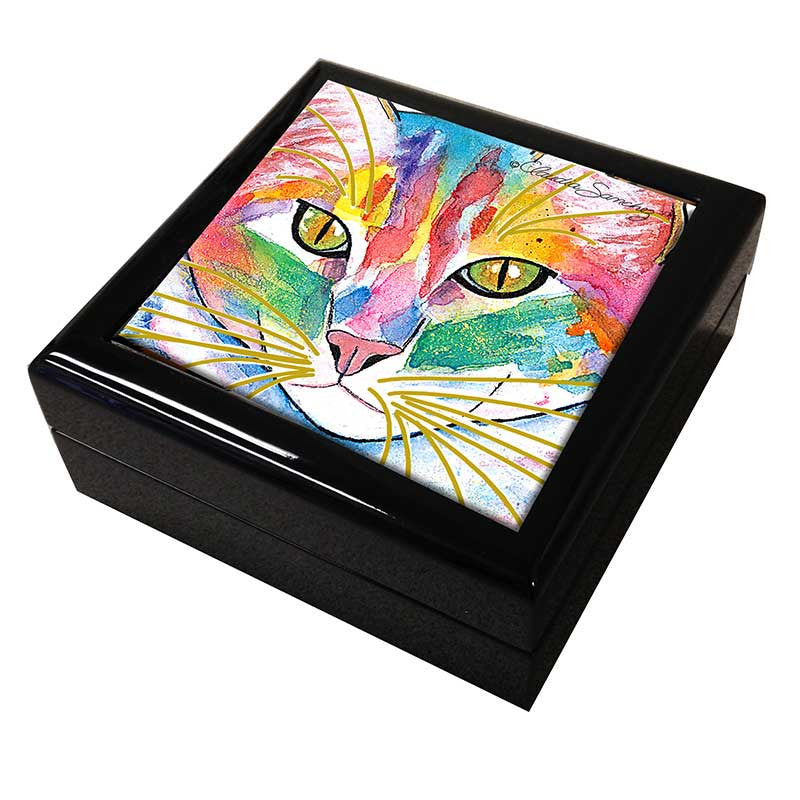 Abby Face Cat Art Tile Keepsake Box by Claudia Sanchez