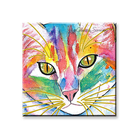 Abby Face - Cat Art Magnet by Claudia Sanchez