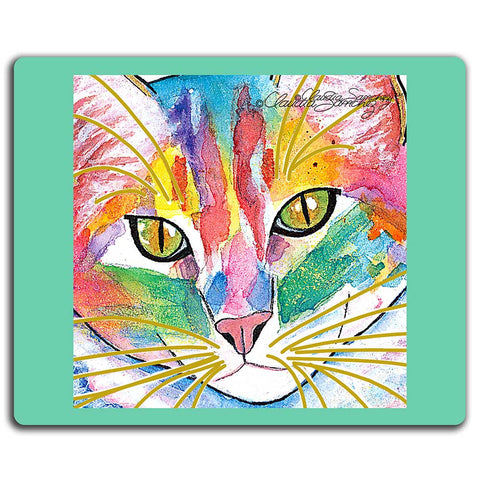 Abby Face Cat Art Mousepad by Claudia Sanchez