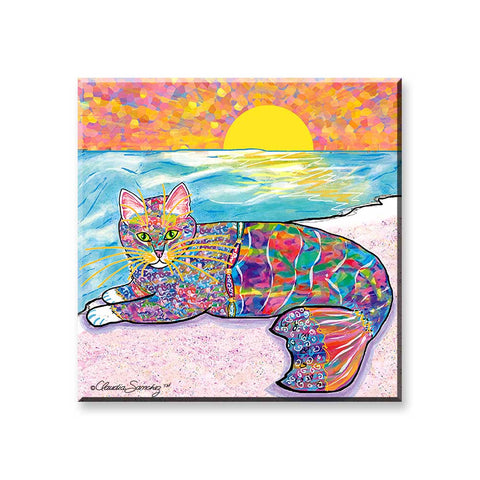 Abby Mercat - Cat Art Magnet by Claudia Sanchez