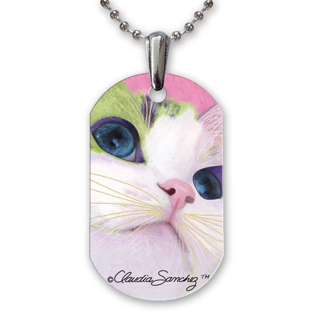 Ali's Eyes Aluminum Cat Art Pendant Necklace by Claudia Sanchez, Claudia's Cats Collection
