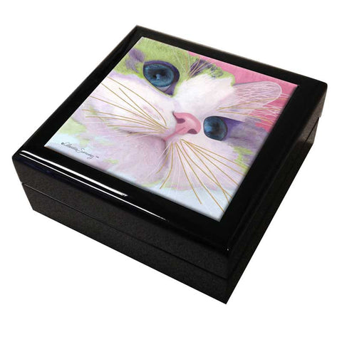 Ali's Eyes Cat Art Tile Keepsake Box by Claudia Sanchez