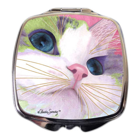 Ali's Eyes Cat Art Compact Mirror by Claudia Sanchez