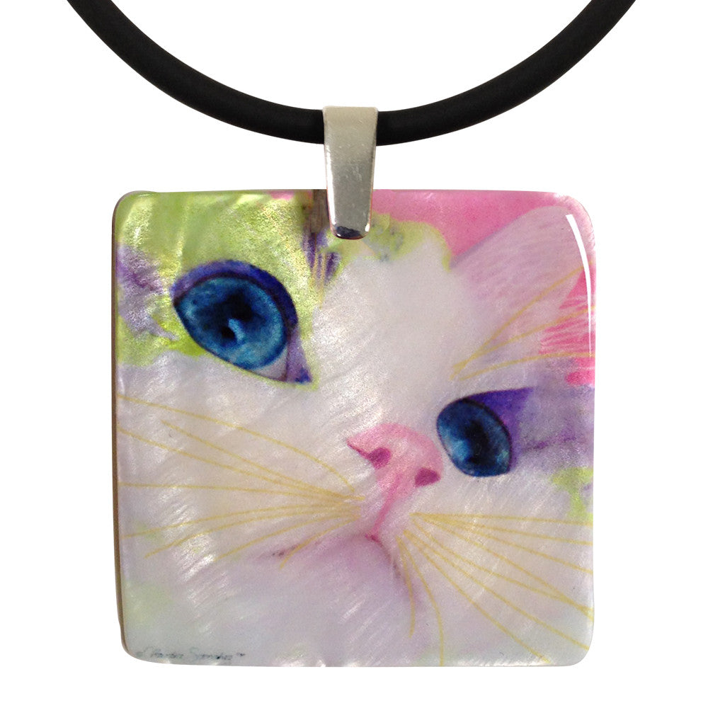 Ali's Eyes Mother of Pearl Cat Art Pendant Necklace by Claudia Sanchez, Claudia's Cats Collection