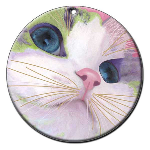 Ali's Eyes Ceramic Cat Art Christmas Ornament by Claudia Sanchez, Claudia's Cats Collection
