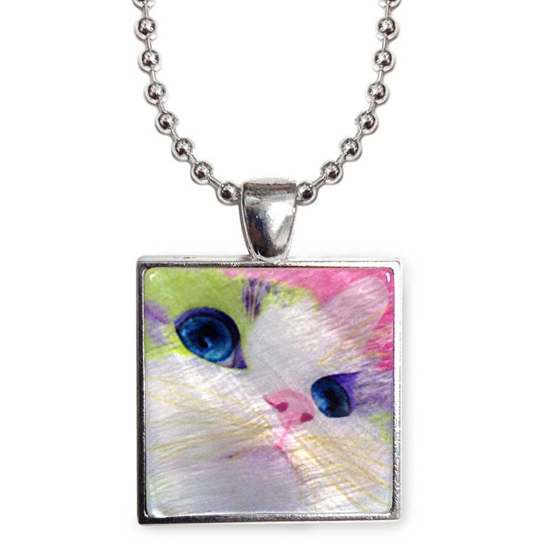 "Ali's Eyes Cat Art 1"" Mother of Pearl Pendant Necklace by Claudia Sanchez, Claudia's Cats Collection"