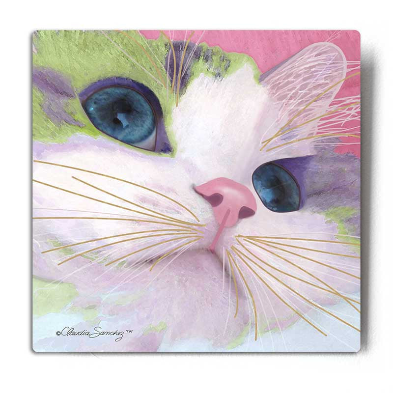 Ali's Eyes Aluminum Cat Art Print by Claudia Sanchez, Claudia's Cats Collection