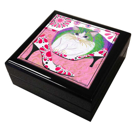 Ali's Favorite Heels Cat Art Tile Keepsake Box by Claudia Sanchez