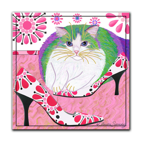 Ali's Favorite Heels Hardboard Cat Art Print by Claudia Sanchez
