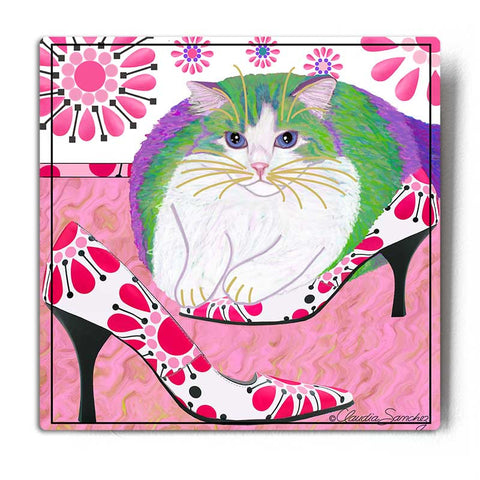 Ali's Favorite Heels Aluminum Cat Art Print by Claudia Sanchez, Claudia's Cats Collection