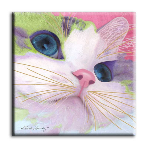 Ali's Eyes Ceramic Cat Art Tile by Claudia Sanchez, Claudia's Cats Collection