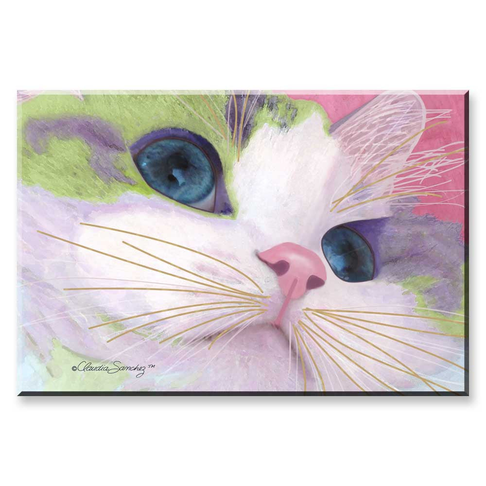 Ali's Eyes - Cat Art Magnet by Claudia Sanchez