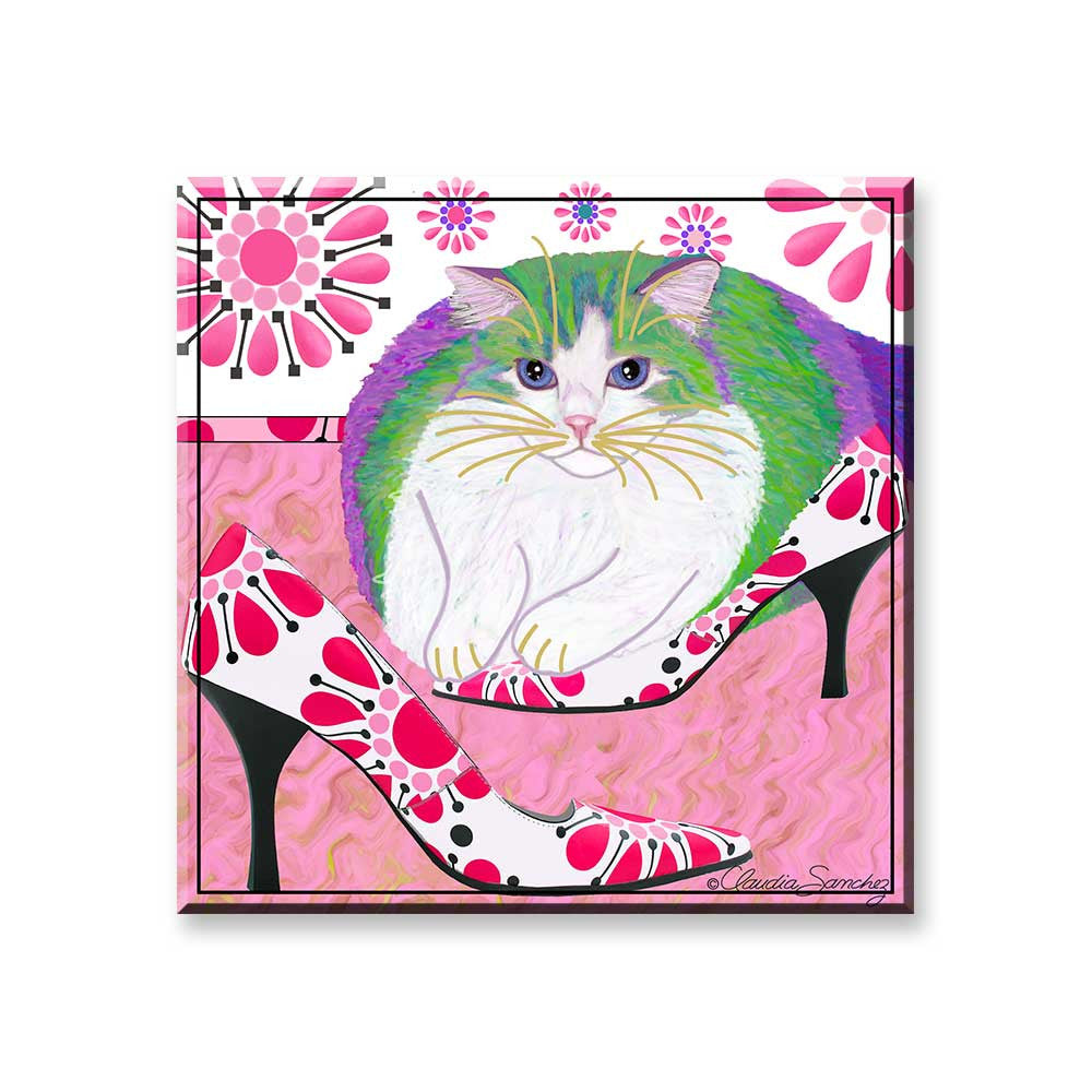 Ali's Favorite Heels - Cat Art Magnet by Claudia Sanchez