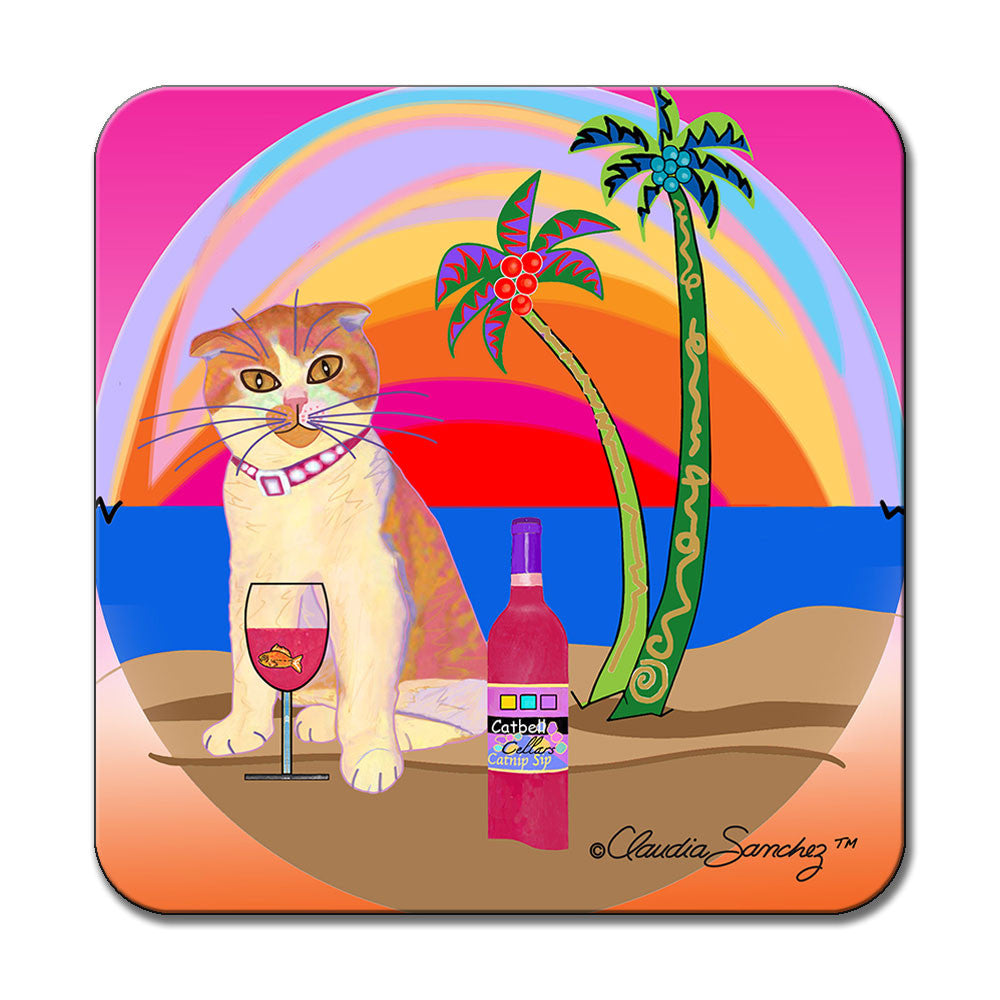 Aloha Lucy Cat Art Coaster