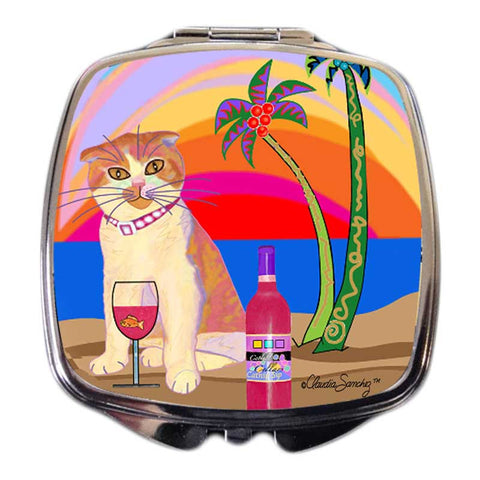 Aloha Lucy Cat Art Compact Mirror by Claudia Sanchez