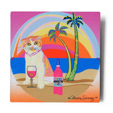 Aloha Lucy Aluminum Cat Art Print by Claudia Sanchez - Silver Background