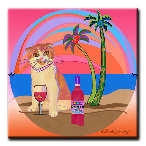 Aloha Lucy Sunset  Decorative Ceramic Cat Art Tile by Claudia Sanchez
